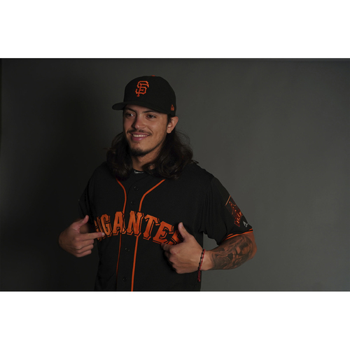 "Photo of San Francisco Giants - 2018 Black Alternate ""Gigantes"" Game-Used Jersey - Dereck Rodriguez (size 46)"