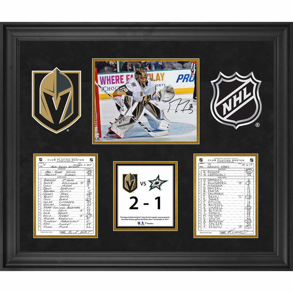 Vegas Golden Knights Framed Original Line-Up Cards from October 6, 2017 vs. Dallas Stars with Autographed Marc-Andre Fleury 8