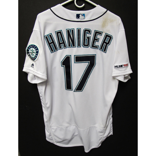 Photo of Mitch Haniger Game-Used Home White Jersey - Athletics vs. Mariners - 5/13/19