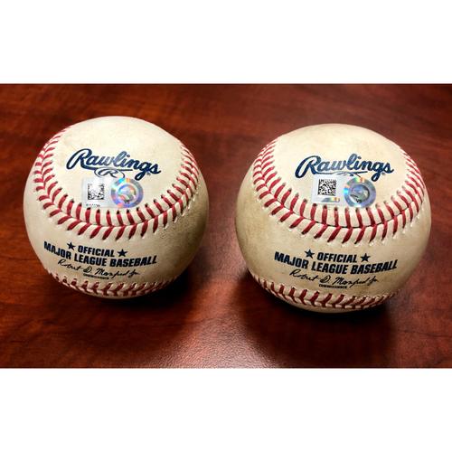 Photo of Game-Used Baseballs: Pitcher - Alex Young | Batter - Matt Chapman HR (7) & Pitcher - Yoan Lopez | Batter - Matt Chapman 2-Run HR (8) - Btm 1 & Btm 8 - 8/20/20 vs ARI