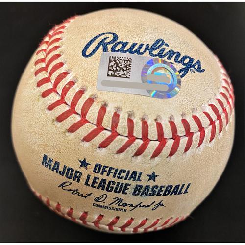 Photo of Franchy Cordero Kansas City Royals RBI Single Baseball (MLB AUTHENTICATED)