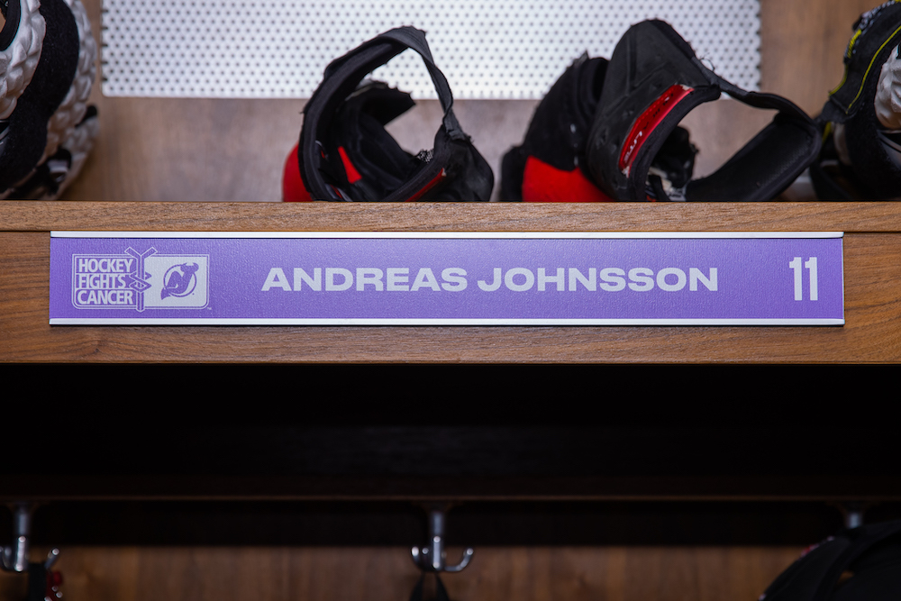Andreas Johnsson Autographed 2020-21 Hockey Fights Cancer Locker Room Nameplate - New Jersey Devils