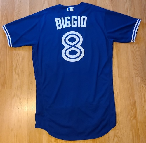 Photo of Authenticated Game Used Jersey: #8 Cavan Biggio (May 21, 2021: 0-for-1). Size 42.