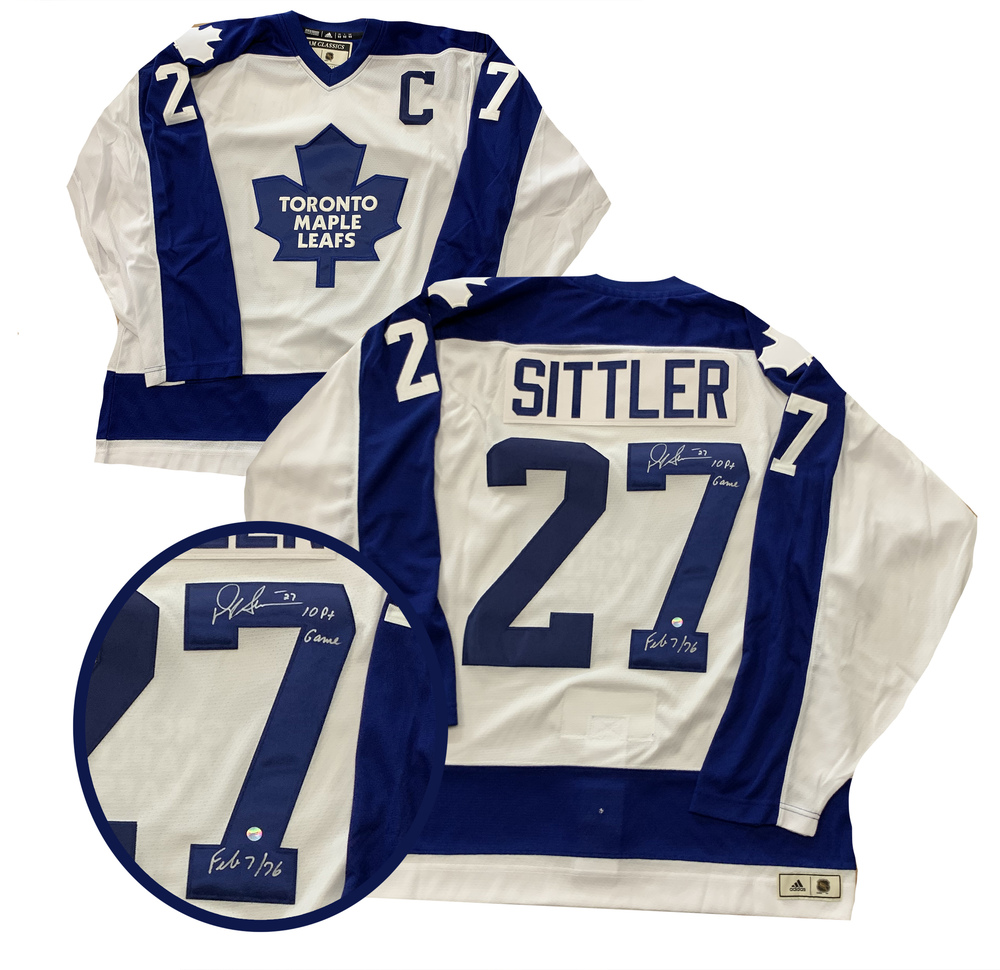 Darryl Sittler Signed  Toronto Maple Leafs White Pro Adidas Classics Jersey with