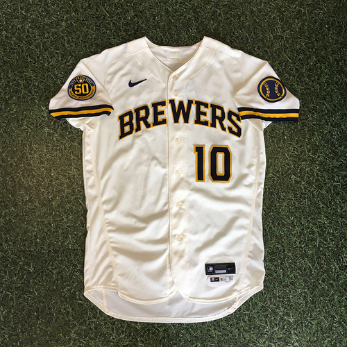 Photo of Omar Narvaez 08/03/20 Game-Used Home Opener Jersey