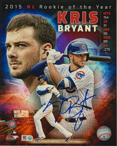 Kris Bryant Autographed 8x10 - 2015 NL ROY Collage