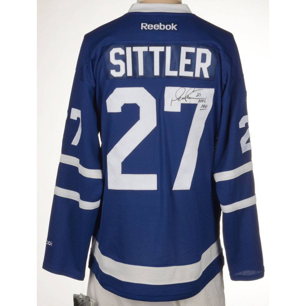 Darryl Sittler Toronto Maple Leafs Autographed Reebok Premier Jersey with Centennial  Patch and NHL 100 Inscription. Auctioned by the National Hockey League ... fdf74c6b3