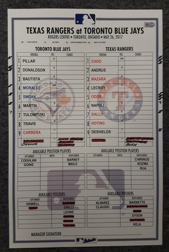 Photo of Authenticated Game Used Lineup Card - May 26, 2017 vs TEX: Donaldson and Tulowitzki return from DL. 1st game vs Texas since ALDS.