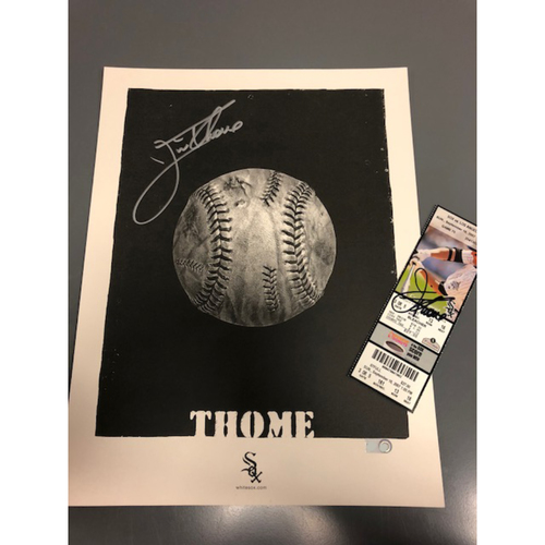 Photo of Jim Thome Artwork and Autographed Ticket from 500th Home Run Game