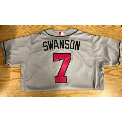 Photo of Dansby Swanson Game-Used Jersey - 5/14/17