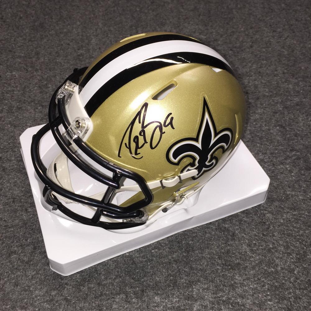 906a3e492 Team Gleason - Saints Drew Brees signed Saints mini helmet