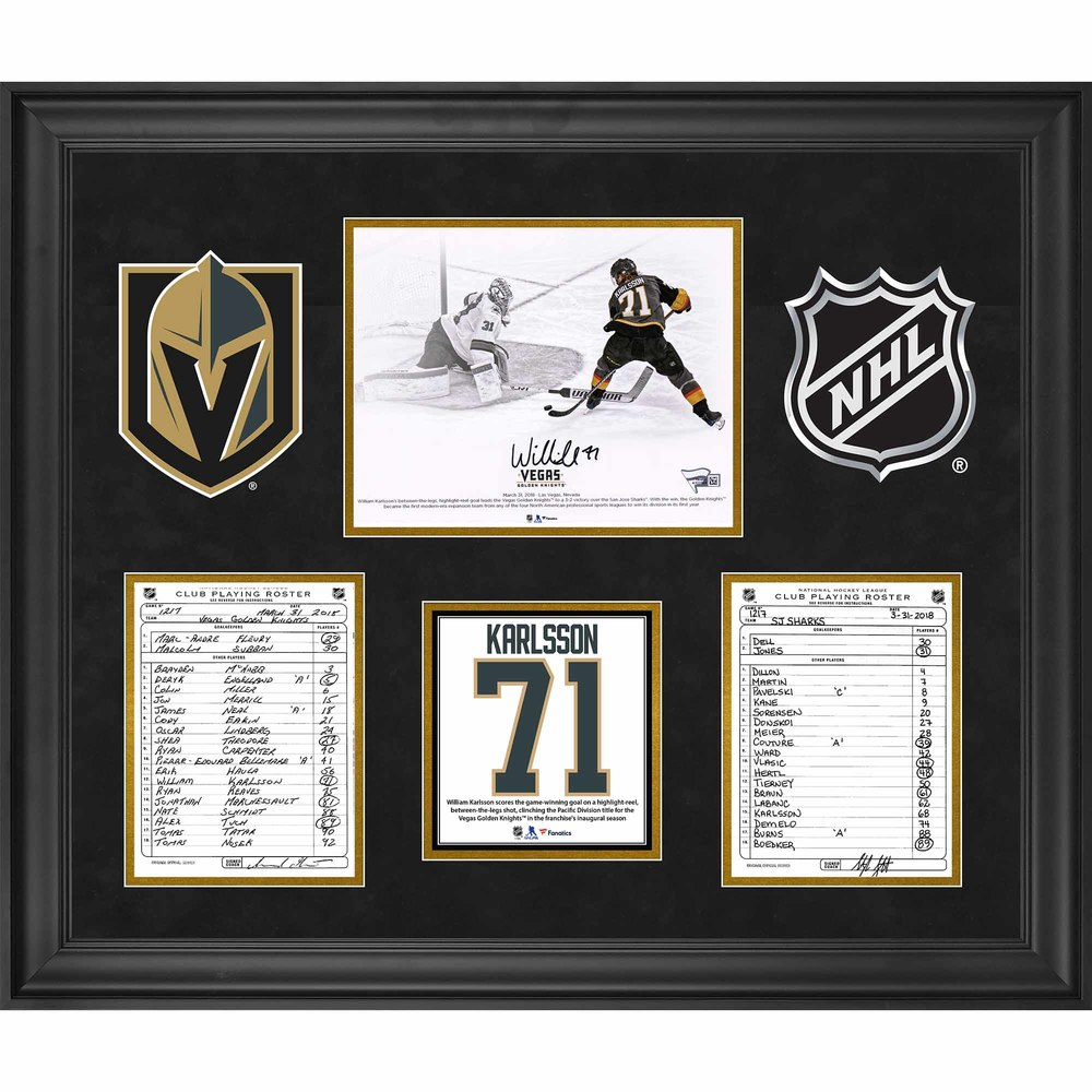 Vegas Golden Knights Framed Original Line-Up Cards from March 31, 2018 vs. San Jose Sharks with Autographed William Karlsson 8