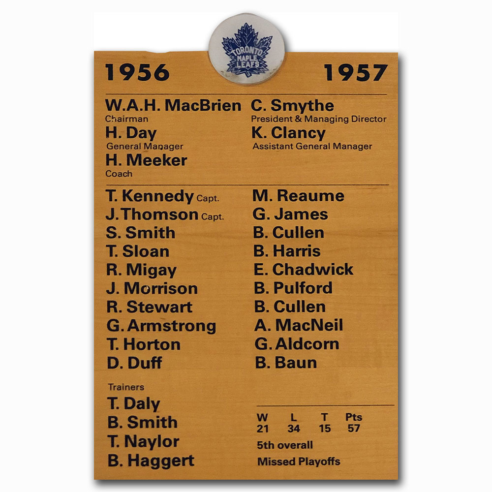 Toronto Maple Leafs 1956-57 Roster Plaque - Once on Display in Maple Leafs Locker Room
