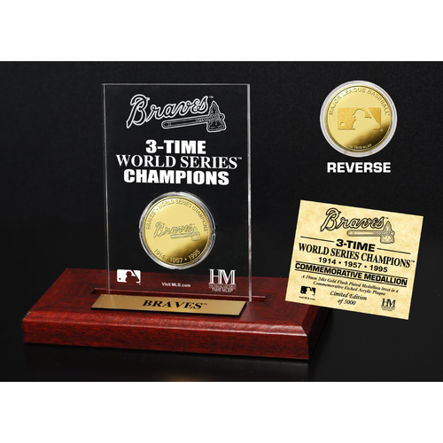 Photo of Atlanta Braves 3-Time World Series Champions Gold Coin Etched Acrylic