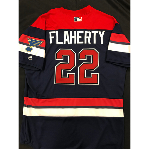 Photo of Jack Flaherty Team Issued 2019 St. Louis Blues Themed Cardinals Jersey (Size 46)