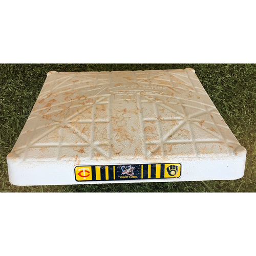 Photo of Game-Used Base - 08/11/20 - MIN @ MIL - 3rd Base, Innings 1-9 - Manny Pina 2 HRs, Jedd Gyorko 8th Inning Go-Ahead HR, Avisail Garcia HR, Jorge Polanco HR & Eddie Rosario 2 HRs