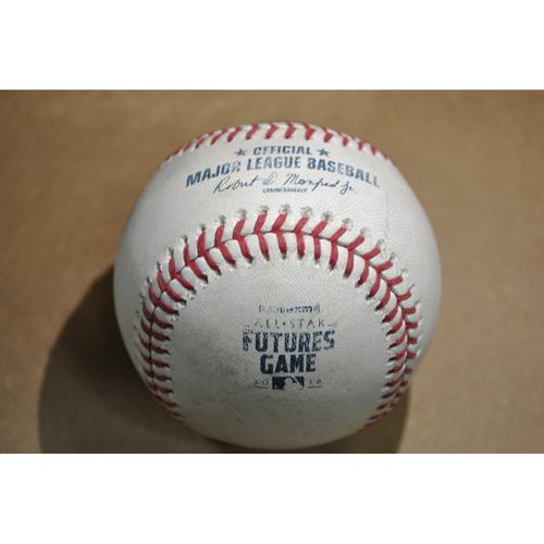 Photo of Game-Used Baseball - 2018 Futures Game (7/15/2018) - Batters: Alex Kirilloff/Danny Jansen/Kyle Lewis, Pitcher: Jesus Luzardo - Single/Strikeout Looking/Foul - Bottom 2