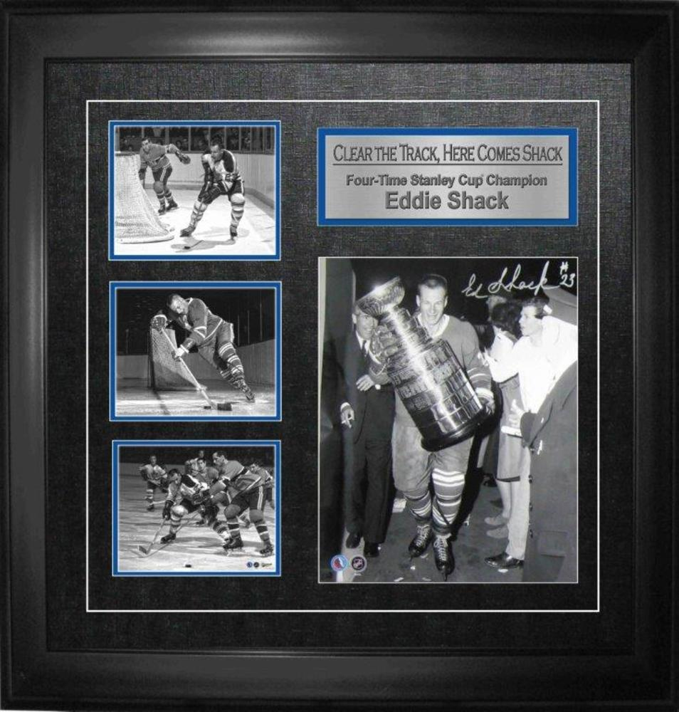 Eddie Shack Signed 8x10 w 3 Mini Photos Stanley Cup Framed Collage Clear The Track