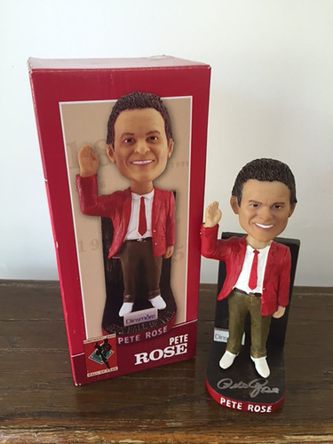 Photo of Pete Rose Autographed 2016 Reds Hall of Fame Induction Bobblehead
