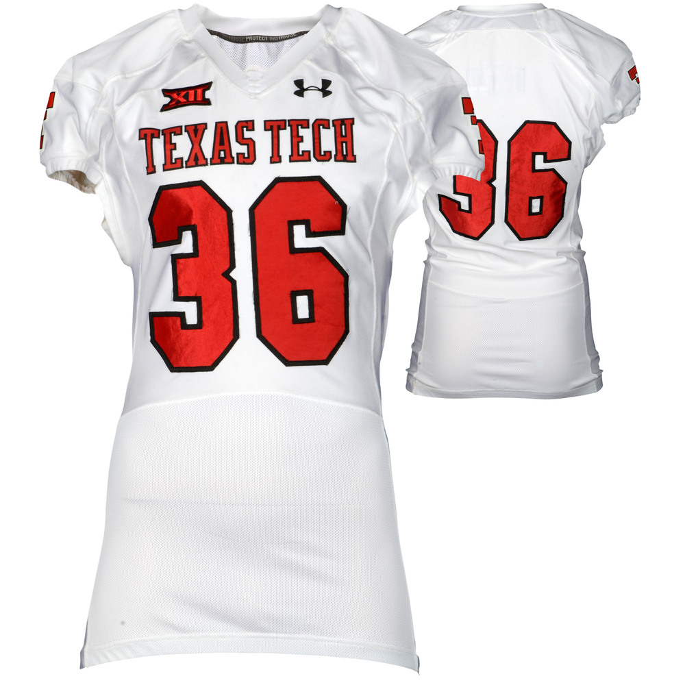 Texas Tech Red Raiders Game-Used White #36 Jersey Used During Victories Against Arkansas and Texas during the 2015 Season - Size 46