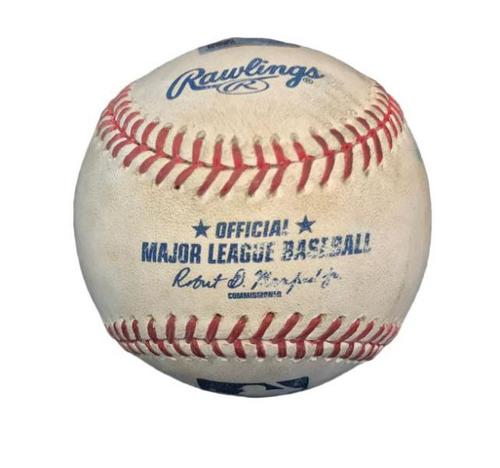 Photo of Game-Used Baseball from Pirates vs. Mets on 5/23/15 - AJ Burnett Strikeout