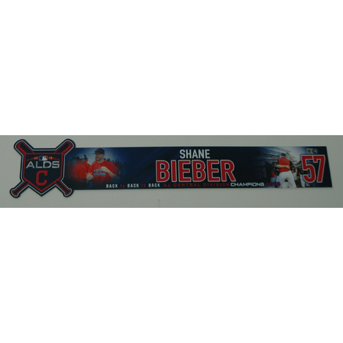 Photo of Shane Bieber Game-Used 2018 ALDS Locker Name Plate - Game 3 - 10/8/18