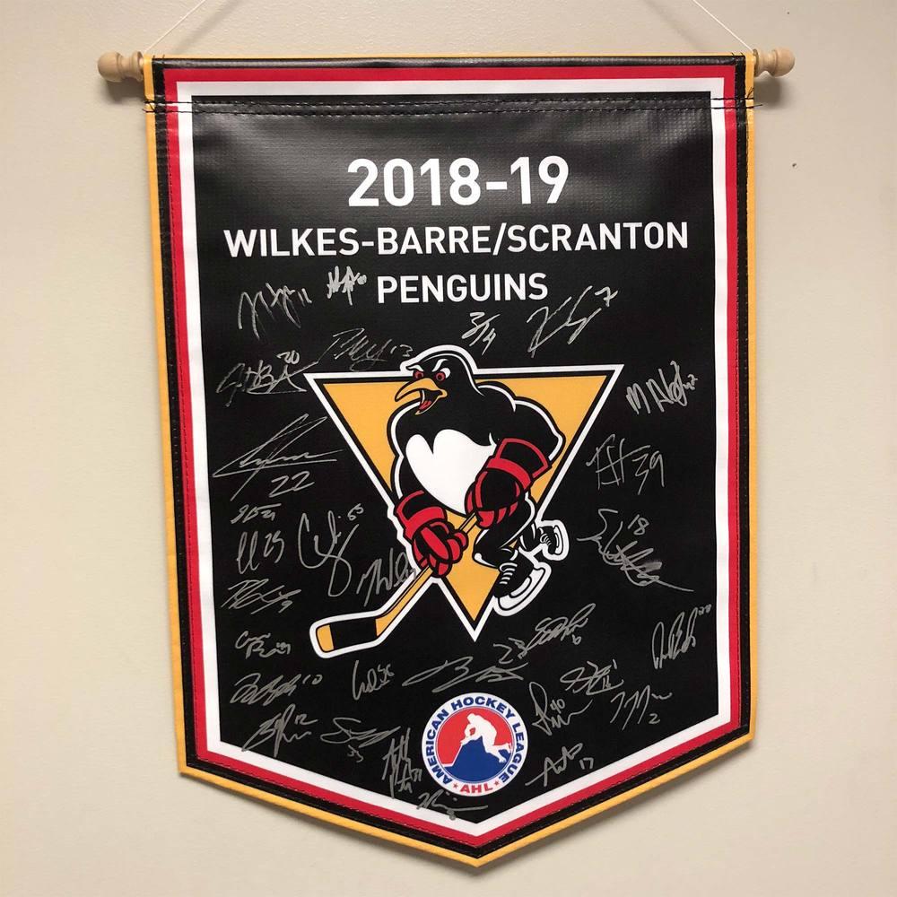 2018-19 Wilkes-Barre/Scranton Pengunis Team-Signed Banner