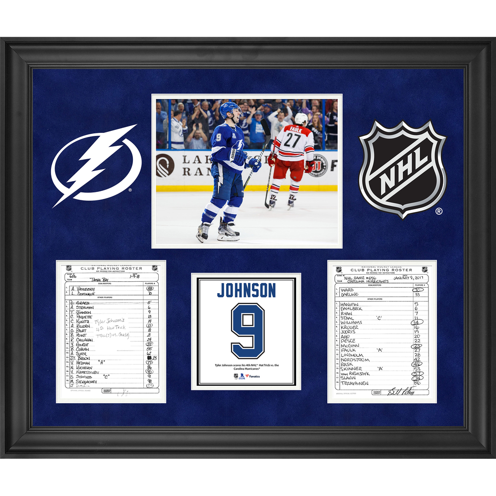 Tampa Bay Lightning Framed Original Line-Up Cards from January 9, 2018 vs. Carolina Hurricanes - Tyler Johnson 4th Career Hat Trick