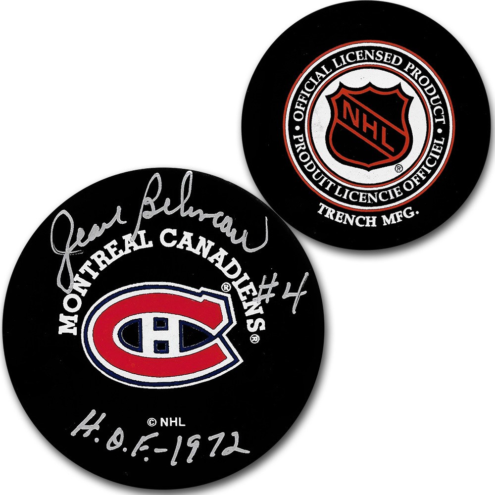 Jean Beliveau Autographed Montreal Canadiens Vintage Trench Puck