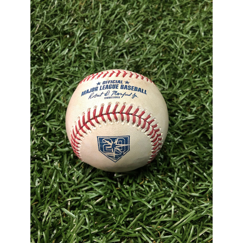 Photo of 20th Anniversary Game Used Autographed Baseball: Willy Adames MLB Debut - May 22, 2018 vs. BOS (Autographed by Adames)