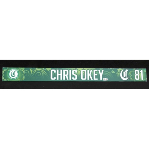 Photo of Chris Okey -- Game-Used Locker Name Plate -- 2019 St. Patrick's Day