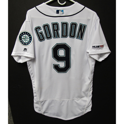 Photo of Dee Gordon Game-Used Home White Jersey - Athletics vs. Mariners - 5/13/19