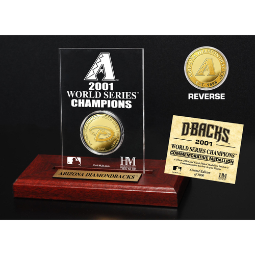 Photo of Arizona Diamondbacks 2001 World Series Champions Gold Coin Etched Acrylic