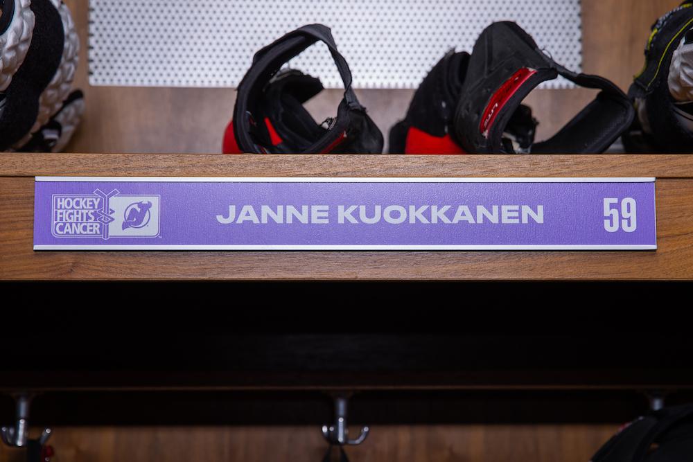 Janne Kuokkanen Autographed 2020-21 Hockey Fights Cancer Locker Room Nameplate - New Jersey Devils