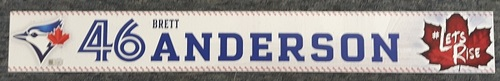 Photo of Authenticated Game Used Locker Name Plate - #46 Brett Anderson (2 feet by 3 inches)