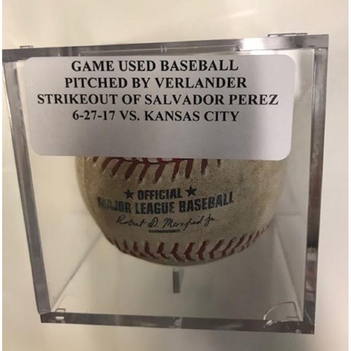 Game-Used Baseball: Justin Verlander Strikeout of Salvador Perez