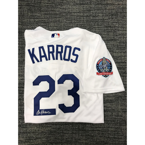 Photo of LADF Blue Diamond Gala Auction: Eric Karros Authentic Autographed Jersey (Size 48) - Worn during Dodgers 2018 Alumni Game