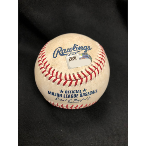 Photo of Scooter Gennett -- First Home Run of 2018 Season -- Player Collected Baseball from April 24, 2018 -- ATL vs. CIN
