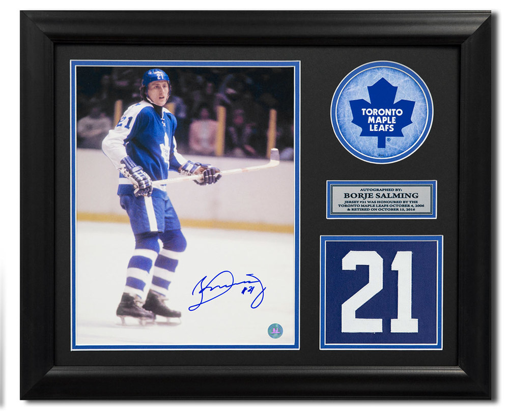 Borje Salming Toronto Maple Leafs Signed Retired Jersey Number 23x19 Frame