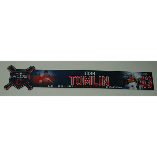 Photo of Josh Tomlin Team-Issued 2018 ALDS Locker Name Plate - Game 3 - 10/8/18