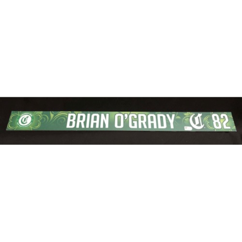 Photo of Brian O'Grady -- Game-Used Locker Name Plate -- 2019 St. Patrick's Day