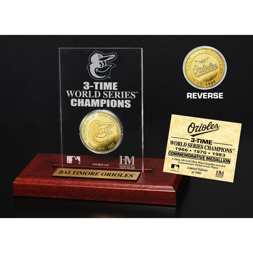 Photo of Baltimore Orioles 3-Time World Series Champions Gold Coin Etched Acrylic