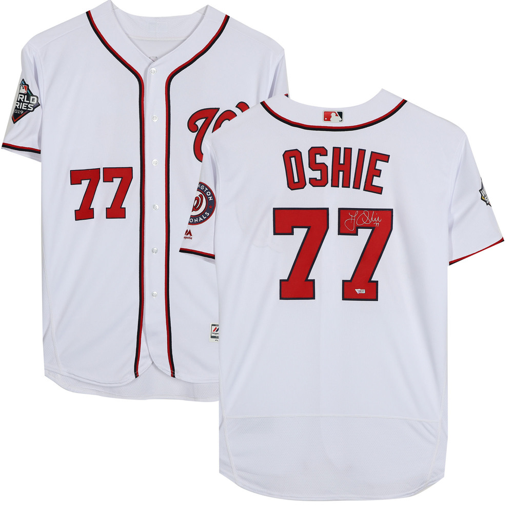T.J. Oshie Washington Capitals Autographed Washington Nationals White Majestic Authentic Jersey -  NHL Auctions Exclusive