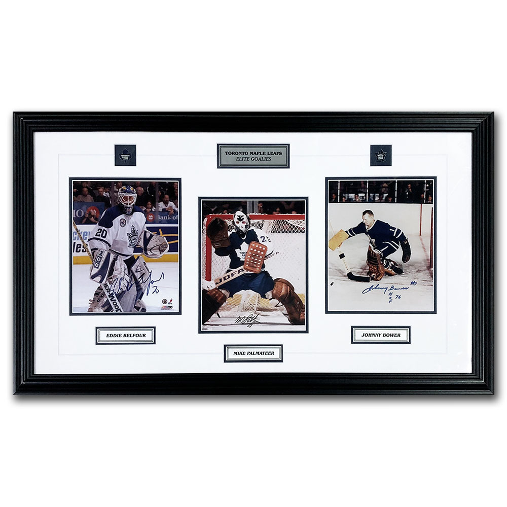 Ed Belfour, Mike Palmateer & Johnny Bower Autographed Maple Leafs Elite Goalies Framed Display - From Palmateer's Personal Collection
