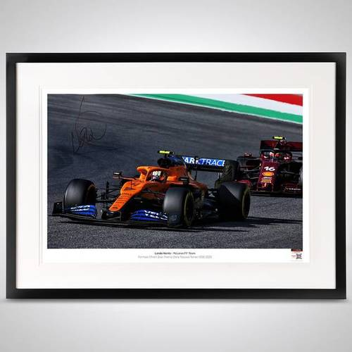 Photo of LANDO NORRIS 2020 FRAMED SIGNED PHOTO - TUSCAN GP