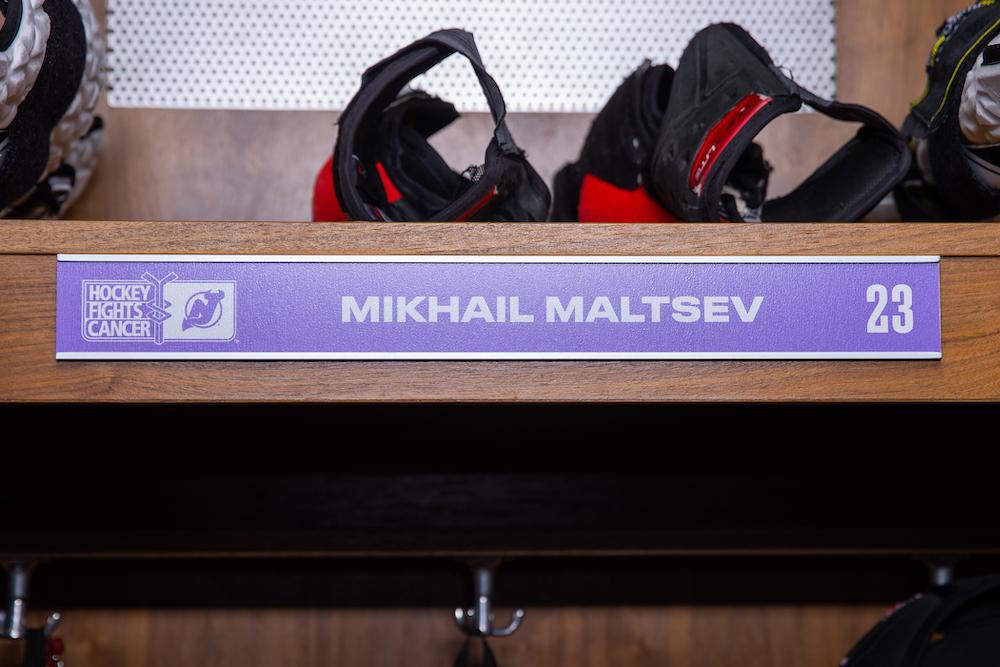 Mikhail Maltsev Autographed 2020-21 Hockey Fights Cancer Locker Room Nameplate - New Jersey Devils