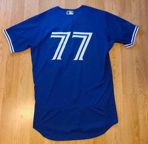 Photo of Authenticated Team Issued Spring Training Jersey: #77 Jordan Groshans (2021 Season). Size 44.