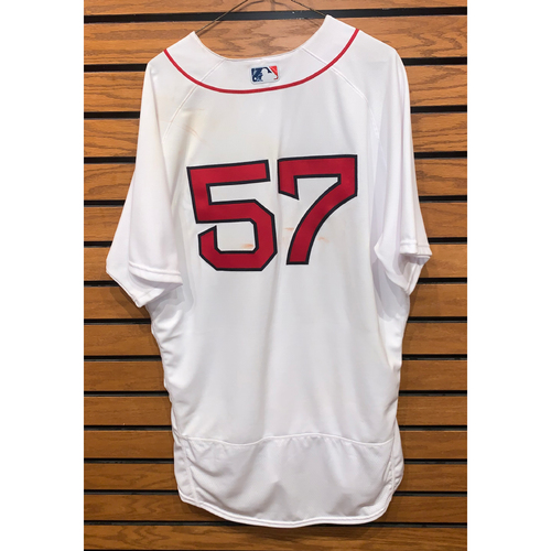 Photo of Eduardo Rodriguez June 27, 2021 Game Used Home Jersey - Win, 6th of the season