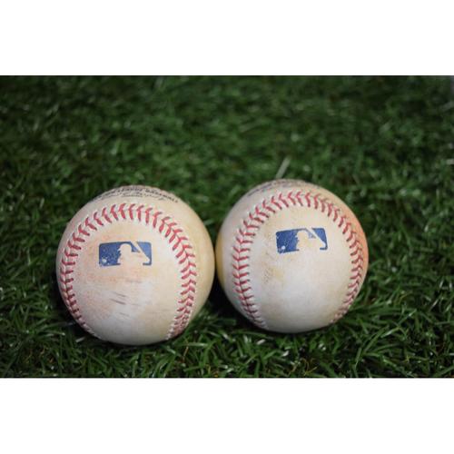 Photo of Game-Used Baseballs - October 1, 2017 - Evan Longoria RBI Double and Mark Trumbo Single