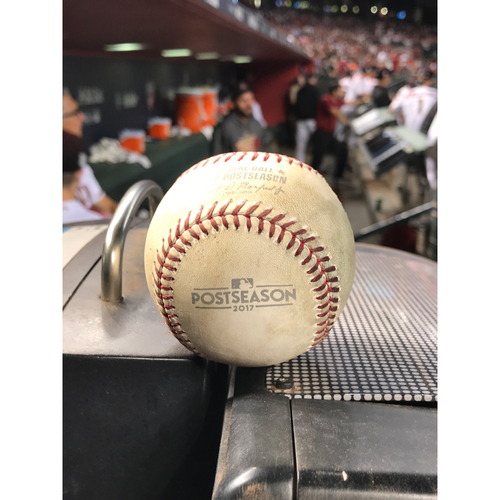 Photo of 2017 NLDS Game-Used Baseball - Yasiel Puig Foul vs. Zack Greinke